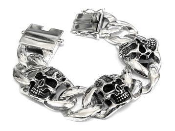 Браслет мужской серебряный Skulls PPB27-02